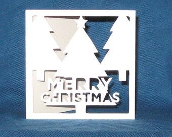 Hand Cut Christmas Trees Card, Merry Christmas Card