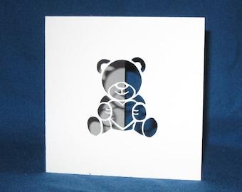 Teddy Bear Heart Card, Hand Cut Card