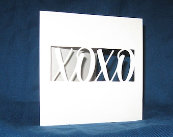 XOXO Card, Valentine's Day Card, Hand Cut Card