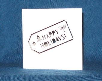 Happy Holidays Gift Tag Card, Happy Hanukkah, Merry Christmas, Hand Cut Card
