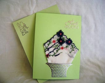 Get Well Greeting Card, Get Well Handkerchief Card, Handmade Greeting Card, Embossed Greeting Card