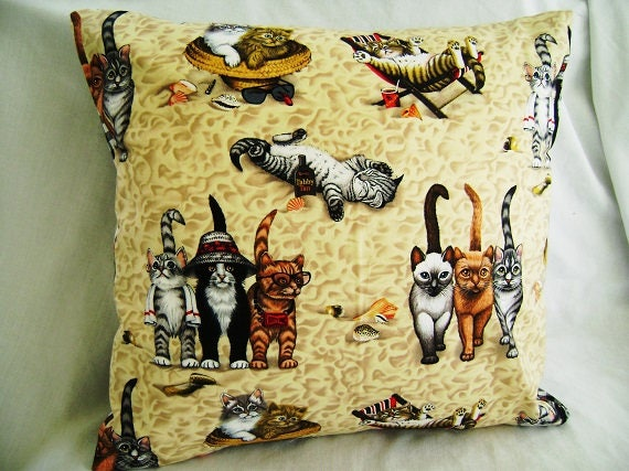 Cat Pillow Cover Cats On The Beach Pillow Cover Kitty Pillow Etsy