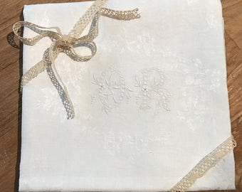Large handmade embroidered napkin, monogrammed OR , cotton / linen