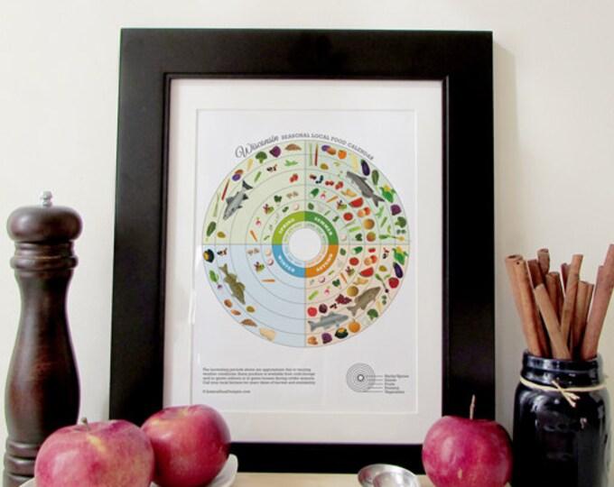 WISCONSIN Seasonal Food Calendar Art Print