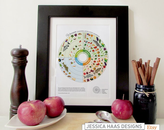 WISCONSIN Seasonal Food Calendar Art Print