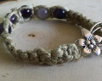 Amethyst Hemp Bracelet w/ Tibetan Flower Clasp