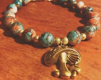 Mushroom Bracelet w/ Earth Tone Beads