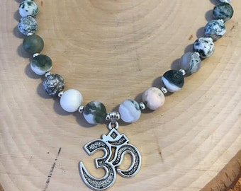 Moss Agate Necklace w/ Om Sign Charm