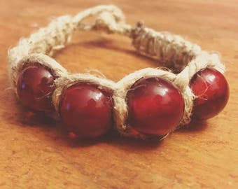 Red Glass Beaded Hemp Bracelet