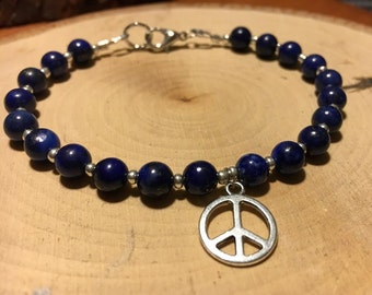 Lapis Lazuli Beaded Bracelet w/ Silver Peace Sign Charm