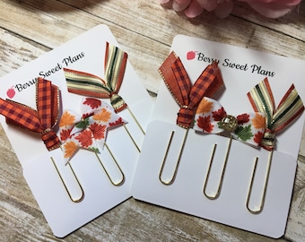 Autumn Leaves are Falling - Choice of Sets - Set of 3 Planner Clips / Bookmarks, Planner Accessories, TN Accessories