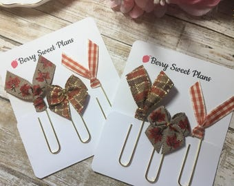 Fall Gathering - Choice of Sets - Set of 3 Planner Clips / Bookmarks, Planner Accessories, TN Accessories