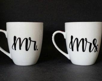 Calligraphy Coffee Mugs // calligraphy mugs // mr and mrs modern mugs // coffee mug // mr. and mrs. //  his and hers