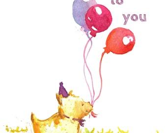 Happy Birthday Card - Purple