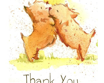 Two Dogs Thank You Cards (A2 greeting cards)