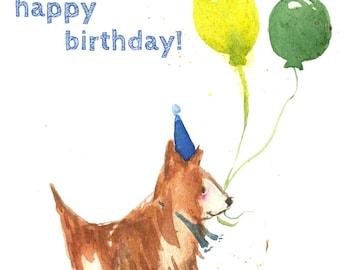 Happy Birthday Card - Blue (Single Card)