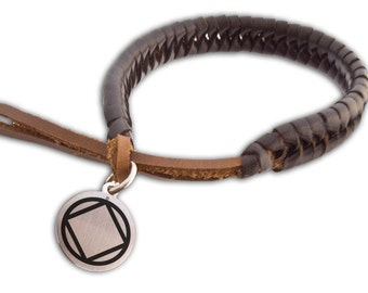 NA Narcotics Anonymous Braided Leather Bracelet    NA Narcotics Anonymous Logo   Clean and Sober Gift   Recovery Symbol   Anniversary