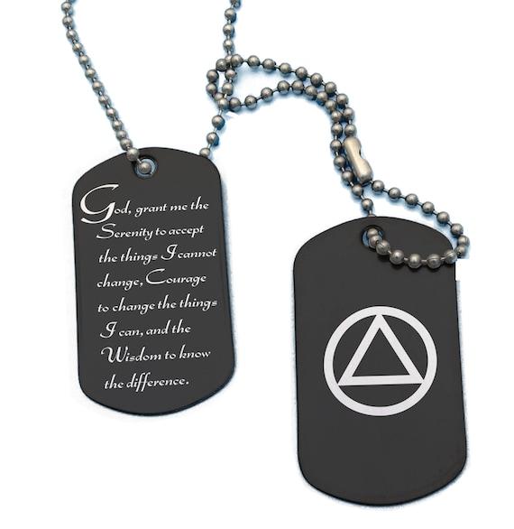 serenity prayer aa symbol military dog tags necklace etsy
