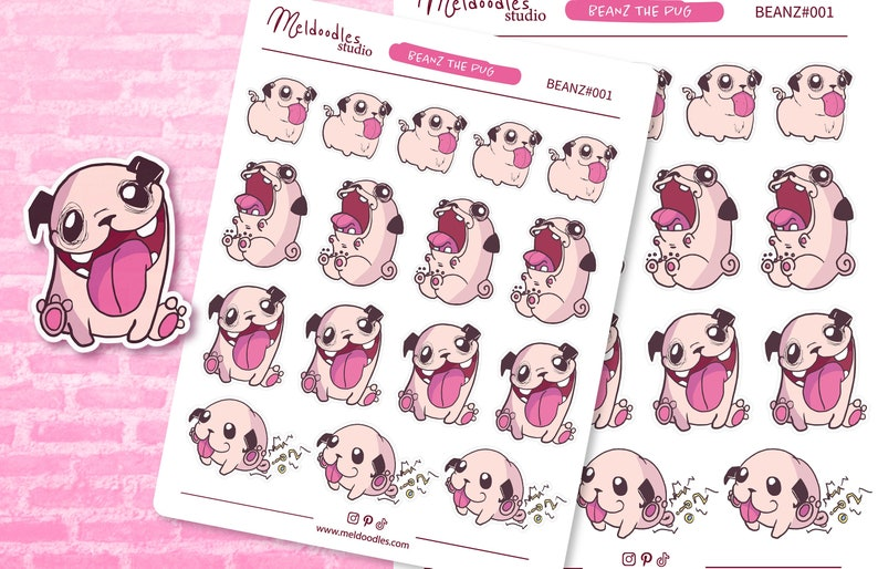 Pug Planner Sticker Sheet Pug Stickers Cute Pug Stickers image 0