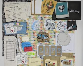 Travel Ephemera Kit, Camera, Vacation Journal Accessories, Notebook Kits, Scrapbook Embellishments, Photographer, Snapshot, Pictures, Family