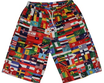 4edd1e052e World Flags All Over Print Mens Shorts Universal Love Peace Unity Street  wear Beach Surf Skate Board Gym Rave Nautical 80s 90s 32w 30w