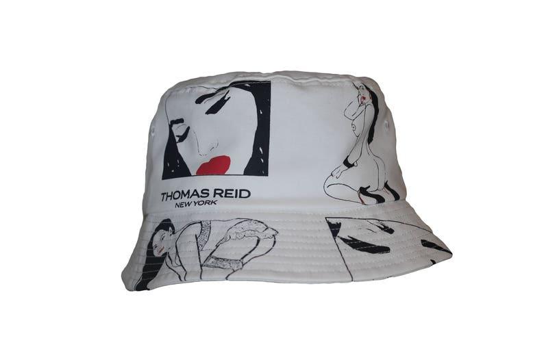 74e3ea00bbf Vintage Fishing Bucket Hat White 90s 80s Roy Lichtenstein pop