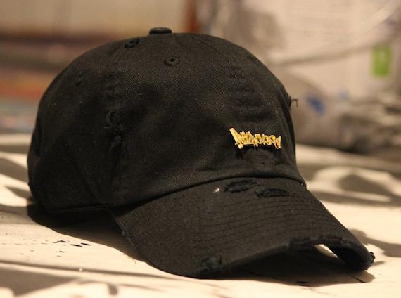Black Distressed Dad Hat Baseball Cap Gold Logo Tag Graffiti  68f9834689e