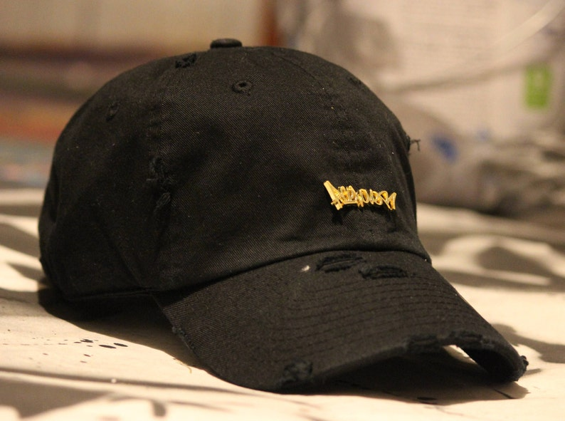 Black Distressed Dad Hat Baseball Cap Gold Logo Tag Graffiti  acc11936213