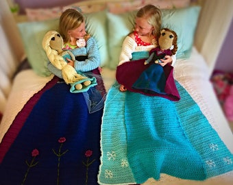 Flower and Ice Princess Crochet Dress Blankets and Doll PATTERNS