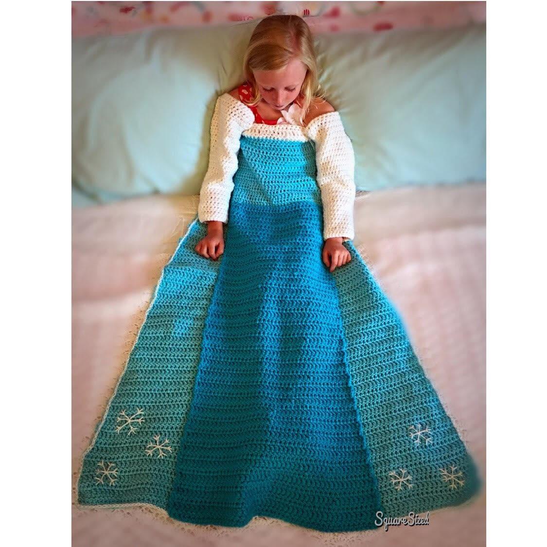 Elsa Crochet Princess Dress Blanket Pattern Etsy