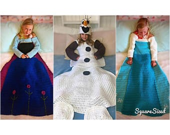 Flower, Ice, and Snowman Blanket Crochet PATTERNS