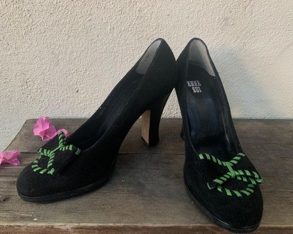 Vintage Black Suede Anna Sui Platform Heels with … - image 2