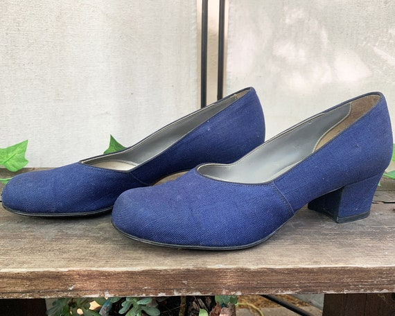 Vintage 1940s Blue Fabric Heels, 7