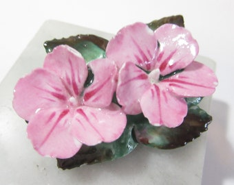 Signed ARTONE Bone China Pin Vintage Pink Double Flower Leaves Made in England