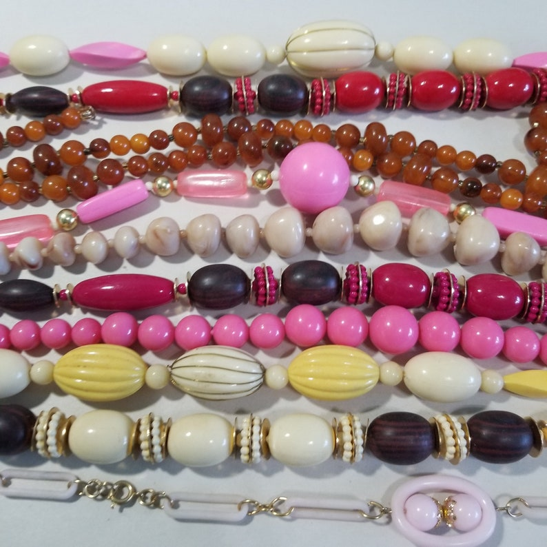 Lot of 16 Plastic Beaded Strands Necklaces No Clasps Vintage Beads Crafts Restring Wear Assorted Variety Jewelry Create