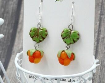 Cloudberry earrings, Alaska jewelry, Berry earrings, Sterling silver earrings, Clay jewelry, Salmonberry earrings, Made in Alaska, Czech