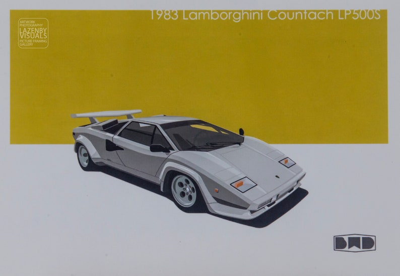 Retro Lamborghini Countach Lp500s Mounted Prints Perfect Etsy
