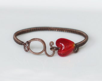 Bracelet copper and red heart
