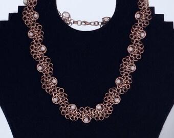 Chainmaille necklace / oxidized copper / rose quartz necklace / copper necklace