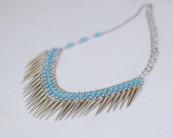 Bib blue necklace, Spike jewelry, Spike necklace, Silver chain necklace, Faceted glass beads necklace, Statement necklace