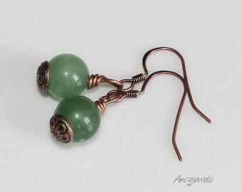 Copper earrings with jade