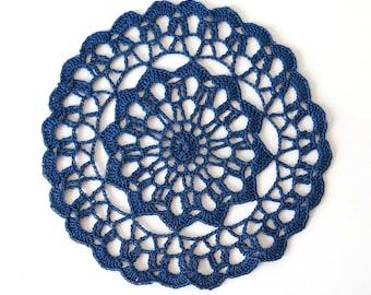 "Navy Blue CROCHET DOILY - Small Round Lace Doily (6.75"")"