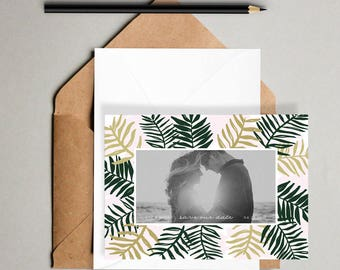 Palm Getaway Save the Date Printable // Hand Drawn, Photo Cards, Save Our Date Cards