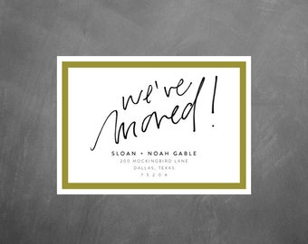 We've Moved Printable Moving Announcements // 5x7 printable announcement, change of address card, hand lettered moving announcement