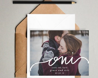 Oui // Printable Save the Dates // Hand lettered photo card, 5x7 save the date printable, modern save the date, minimal wedding