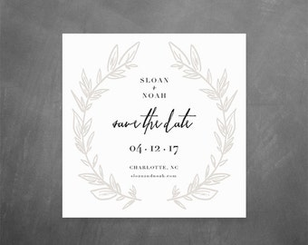 Printable Save the Dates // 5x5 save the date printable, hand drawn wreath, modern save the date, minimal wedding
