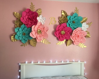 Set Of 10 Giant Paper Flowers For Wall Decor, Nursery Decor, Girls Bedroom  Decor, Party Decor.