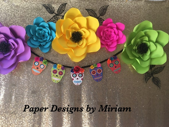 Day Of The Dead Paper Flowers For Party Decor Photobooth Etsy