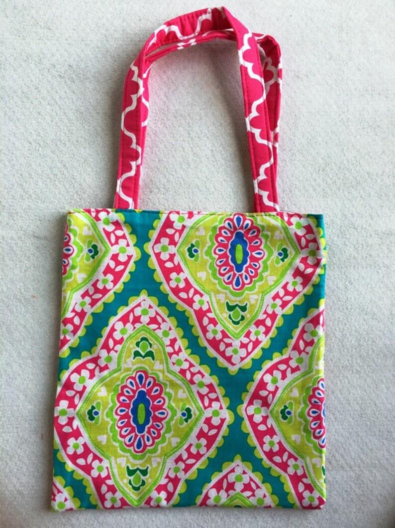 Crayon Coloring Tote Bag-Pink Aqua Moroccan-Coloring Book Tote Bag-Crayon Bag-Children Gift-Girls Tote Bag-Monogram Name-Girl Tote Bag