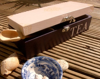 Hand decorated white and violet wooden tea box, Tea Lover Gift, Tea Storage